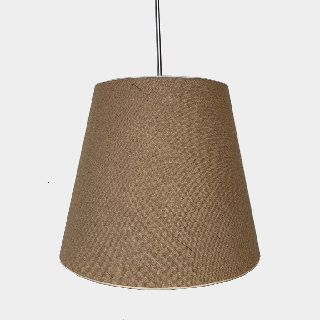 A modern Ceiling light with a natural Linen Shade and Stainless Steel Telescopic Stem