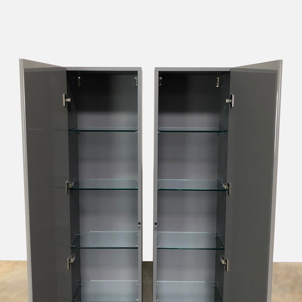 Acerbis Smart Wall Vertical Storage Unit in Steel Gray Glossy Lacquer
