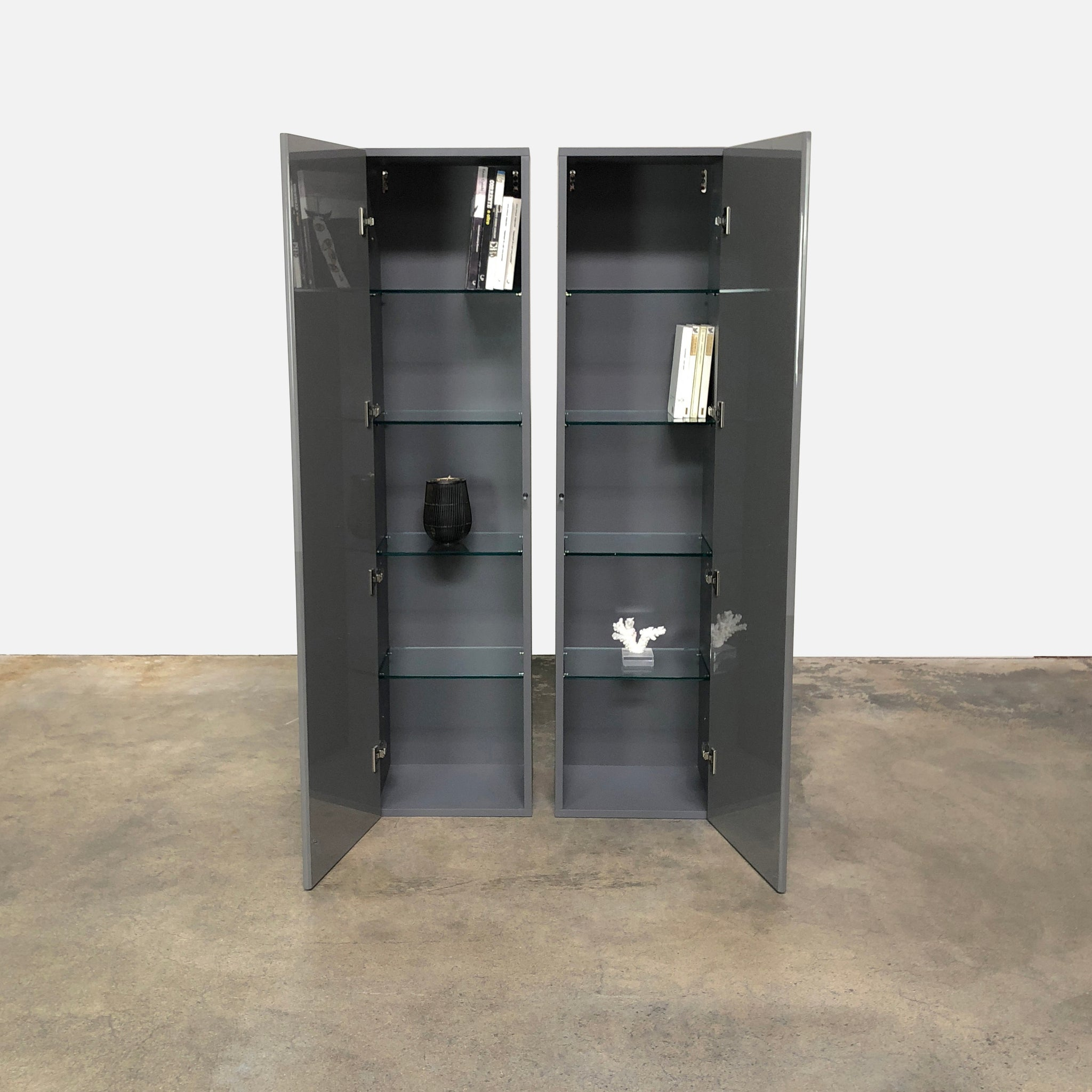 ... Acerbis Smart Wall Vertical Storage Unit In Steel Gray Glossy Lacquer  ...