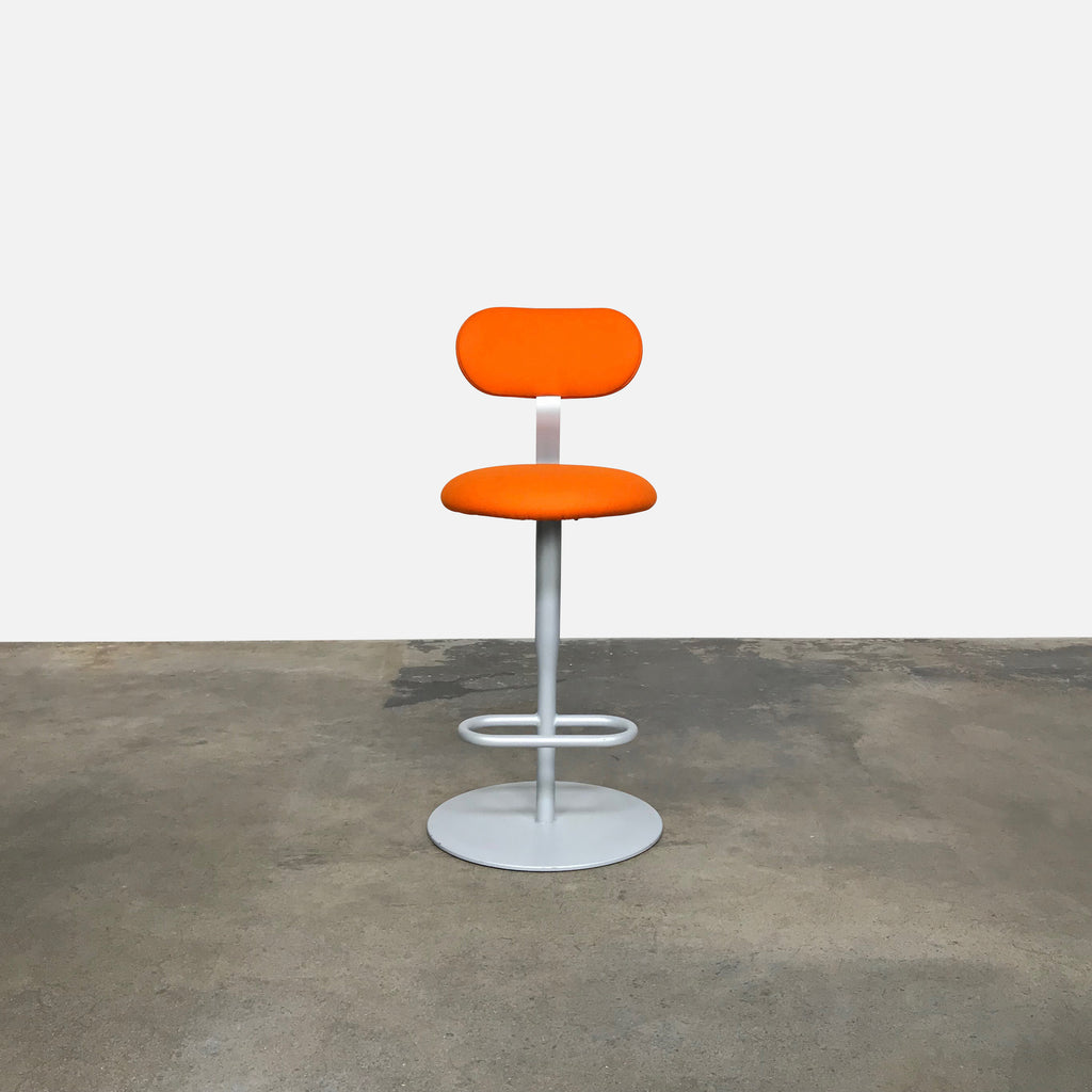 Alias Orange Fabric Atlas Counter Stool with Backrest Jasper Morrison