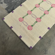 "Cream Pink and Purple Mackintor Wool Rug 37"" x 58"""