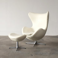 Fritz Hansen White Leather Egg Chair and Ottoman | Los Angeles