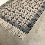 Vintage Blue and Cream Woven Rug