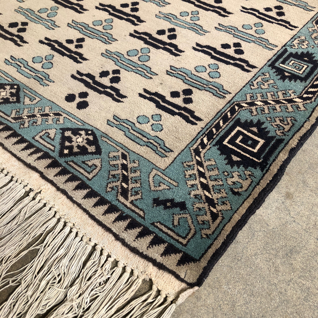 Woven Rug - Blue and Cream, Rug - Modern Resale