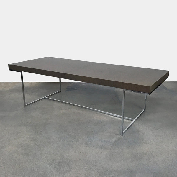 B&B Italia Athos Gray Oak Extendable Dining Table Chrome Base by Piva