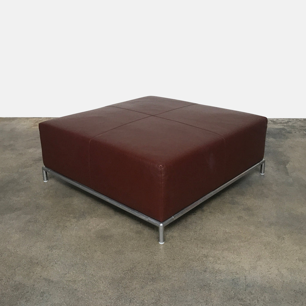 Modern Resale B&B Italia Brown Leather George Ottoman Antonio Citterio 2001