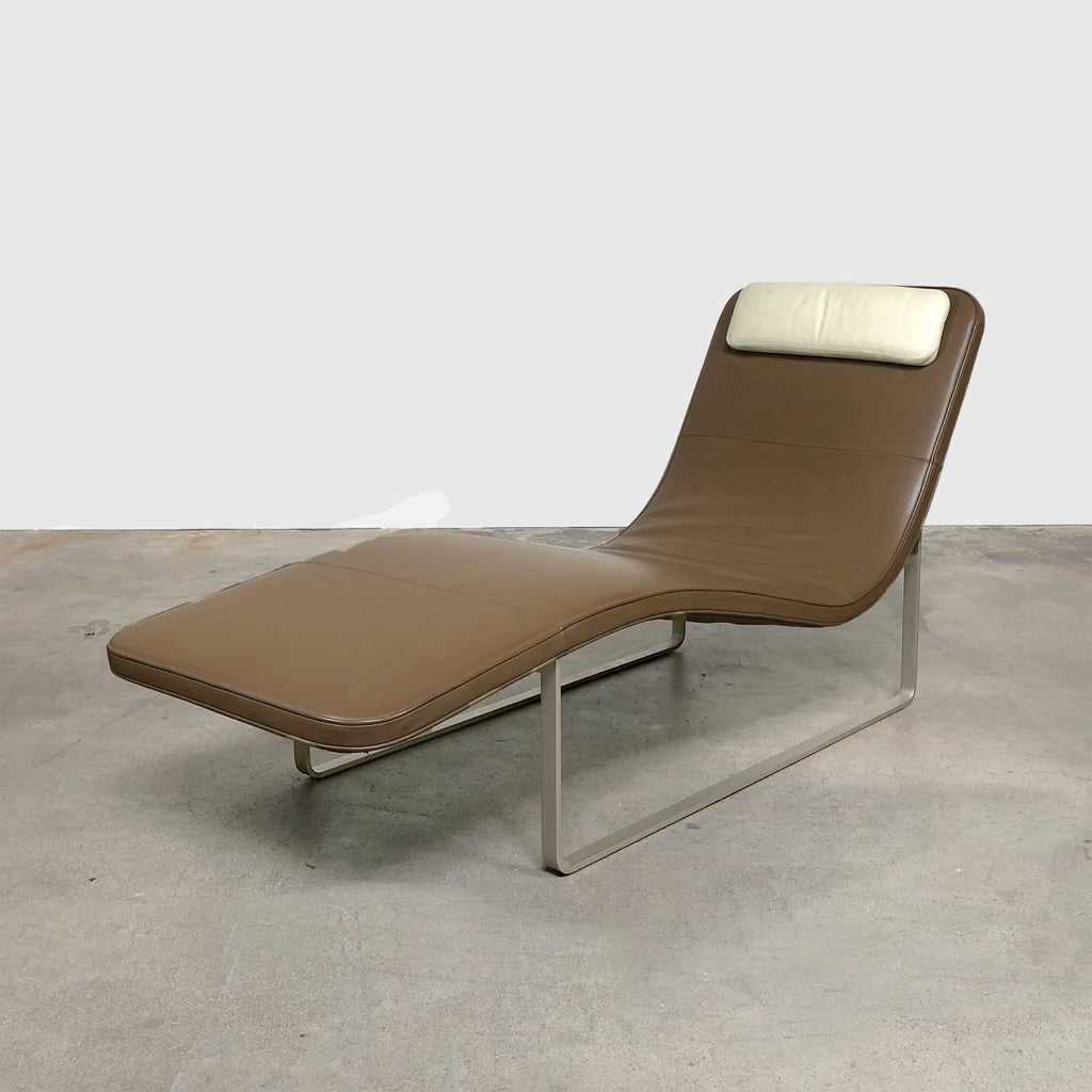 B&B Italia 'Landscape'  Brown and Beige Leather Chaise Lounge by Jeffrey Bernett
