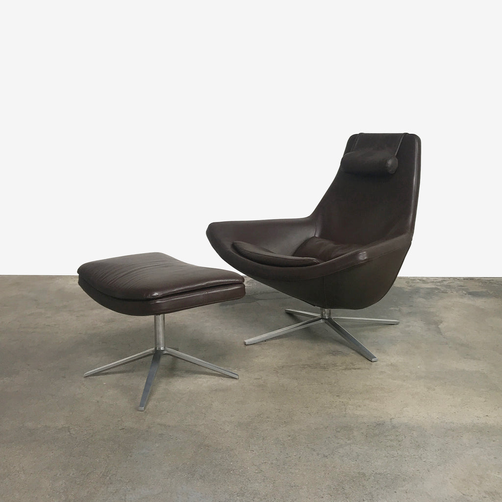 B&B Italia Brown Leather Metropolitan Lounge Chair & Ottoman