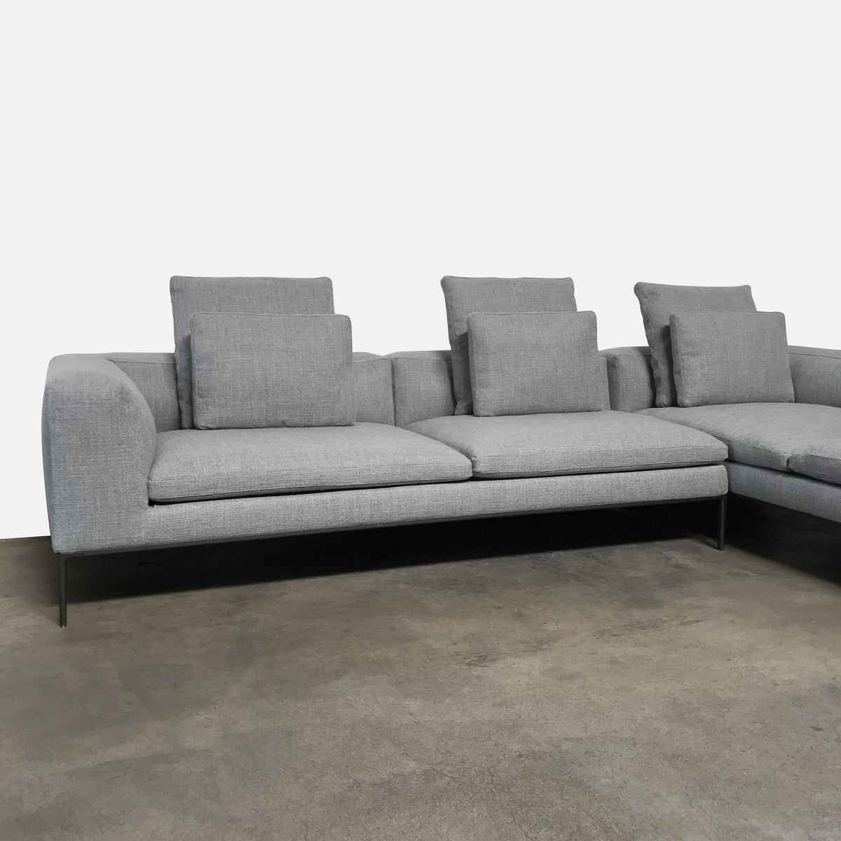 B&B Italia Gray Elio fabric Michel Sectional by Antonio Citterio