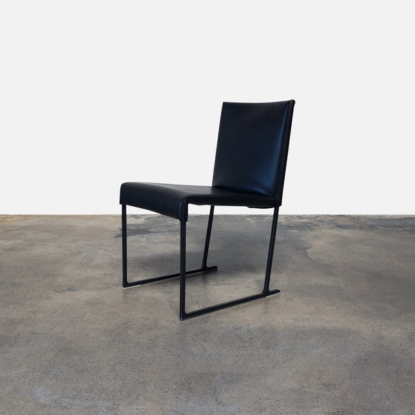 B&B Italia Black Leather Solo Leather Dining Chair by Antonio Citterio