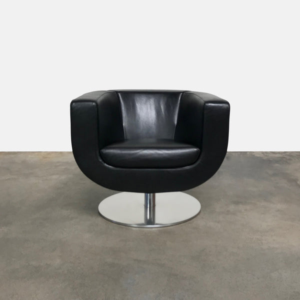 B&B Italia Black Leather Tulip Swivel Armchair (2 in stock)