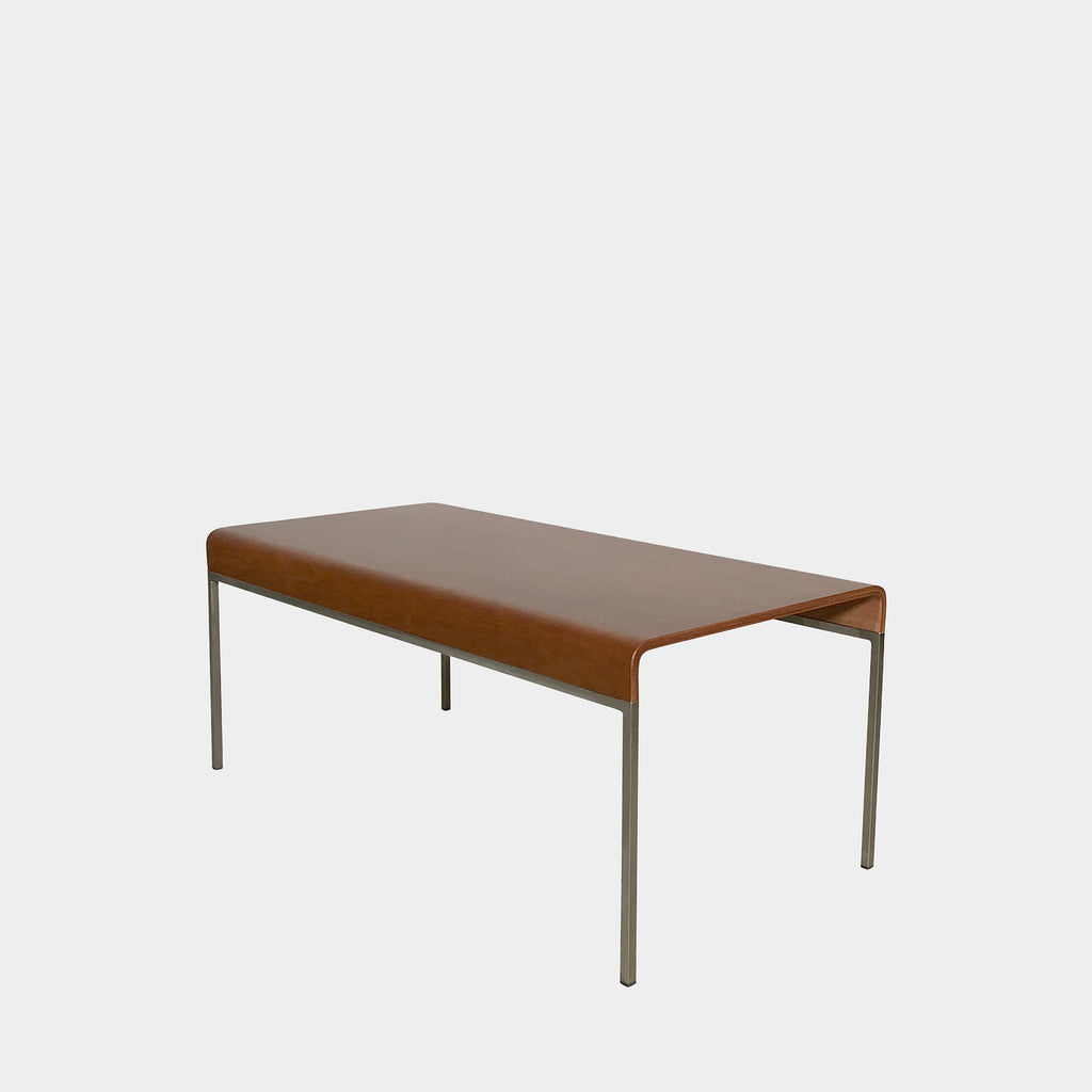 Bellato Cherry Wood Curved Bench With Aluminum Frame