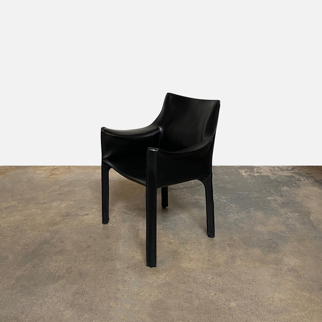 Cassina 'Cab' Armchairs by Mario Bellini, saddle leather dining room chairs Los Angeles side view