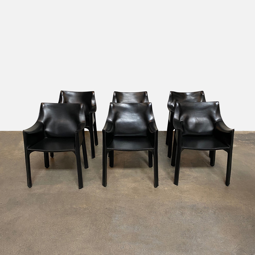 Cassina 'Cab' Armchairs by Mario Bellini, saddle leather dining room chairs.  set of 6 Iconic italian design chairs