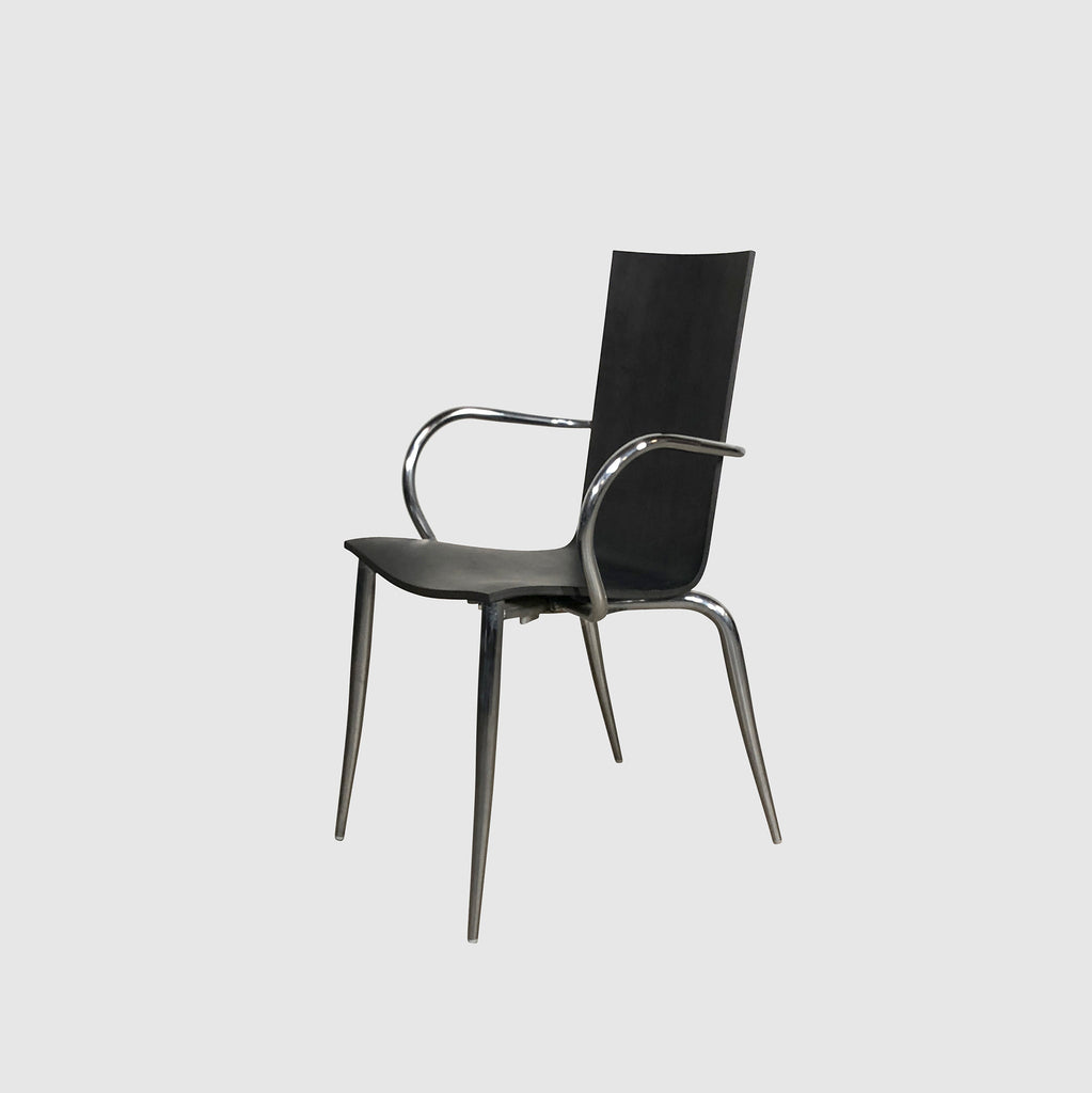Black Wood & Chrome Dining Chair (4 in stock) - $299 eachBlack Oak Wood & Chrome Dining Chair | Los Angeles | Consignment