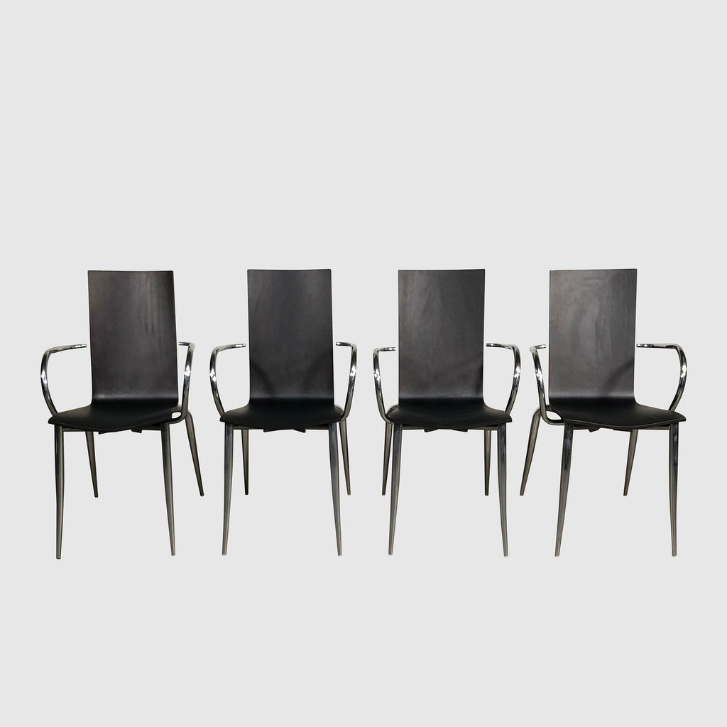 Black Oak Wood & Chrome Dining Chair set of four  | Los Angeles | Consignment
