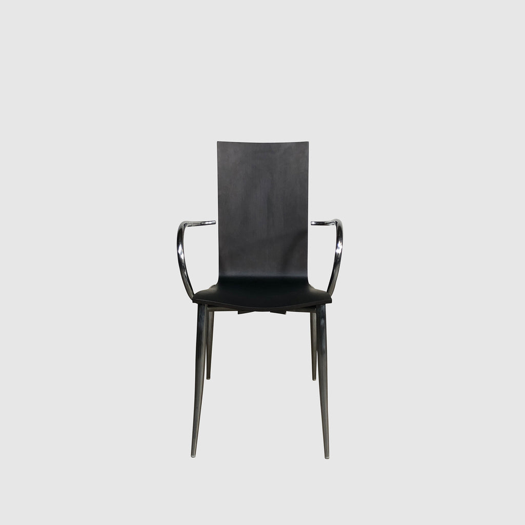 Black Oak Wood & Chrome Dining Chair Front View | Los Angeles | Consignment