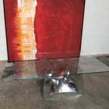 Baleri Italia Bentz Rectangle Coffee Table Aluminum Base, Glass Top