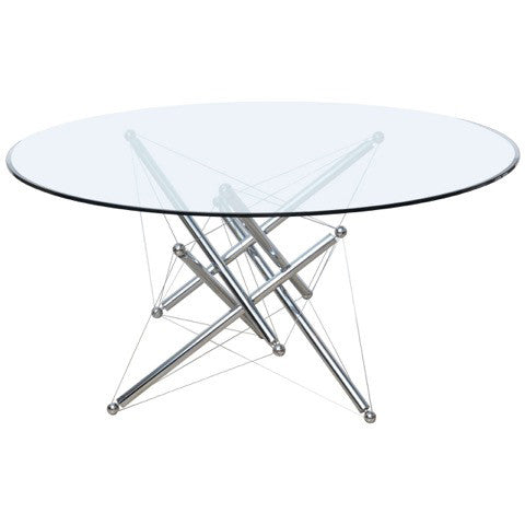 Cassina Chrome & Glass 714 Dining Table by Theodore Waddell