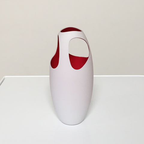 Driade YSTAS White Vase with Red Interior up to 50% below retail