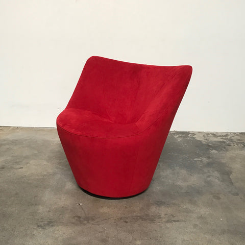 Ligne Roset Red Ultrasuede Anda Swivel Chair by Pierre Paulin
