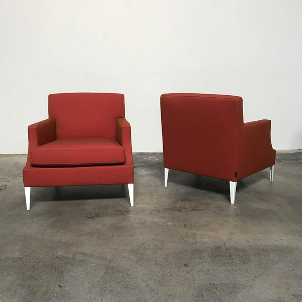 Ligne Roset Voltige Red/Orange Fabric Armchair by Didier Gomez