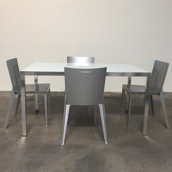 MDF Italia LIM 04 White Glass Rectangle Dining  | Los Angeles