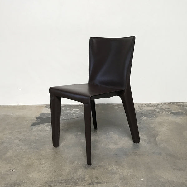 Molteni & C Brown Leather Alfa Dining Chairs
