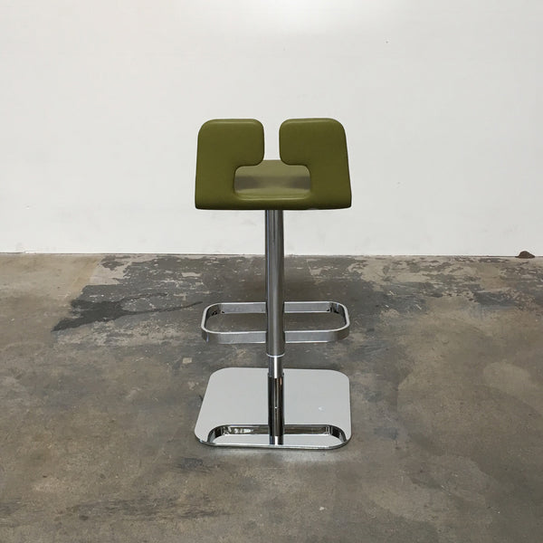 Poltrona Frau Olive Green Leather Alo Barstool 40% below retail price