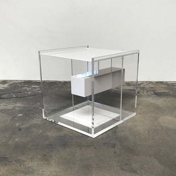 "Zanotta ""Segreto"" Lucite Side Table / Nightstand by Marelli & Eugeni"
