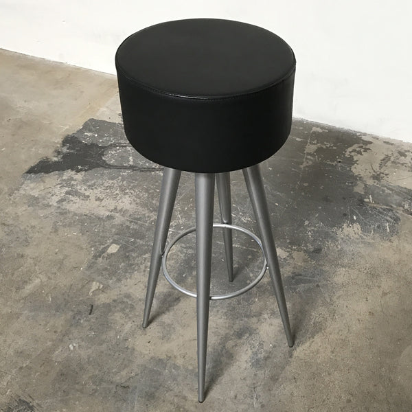 Zeus Golia Industrial Leather Stool with black leather seat
