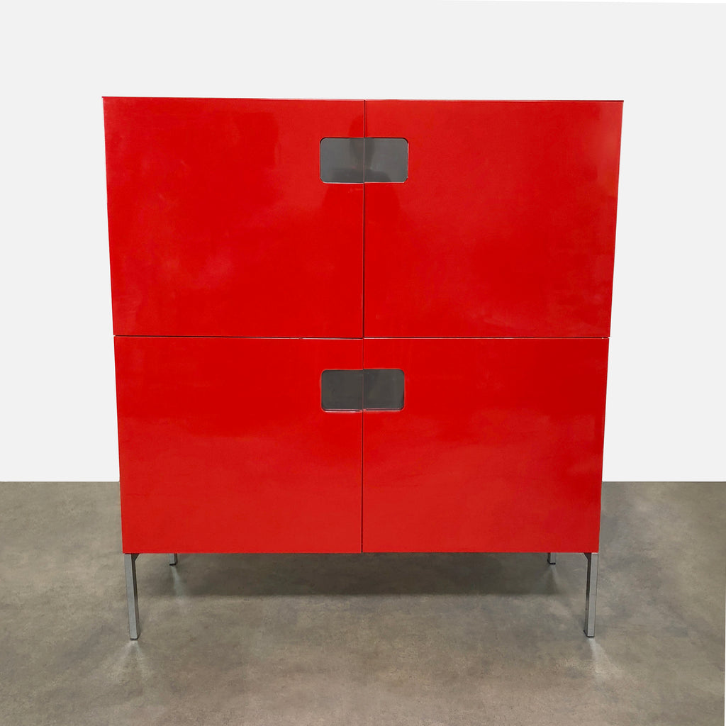 Red Lacquer Cabinet, Console - Modern Resale