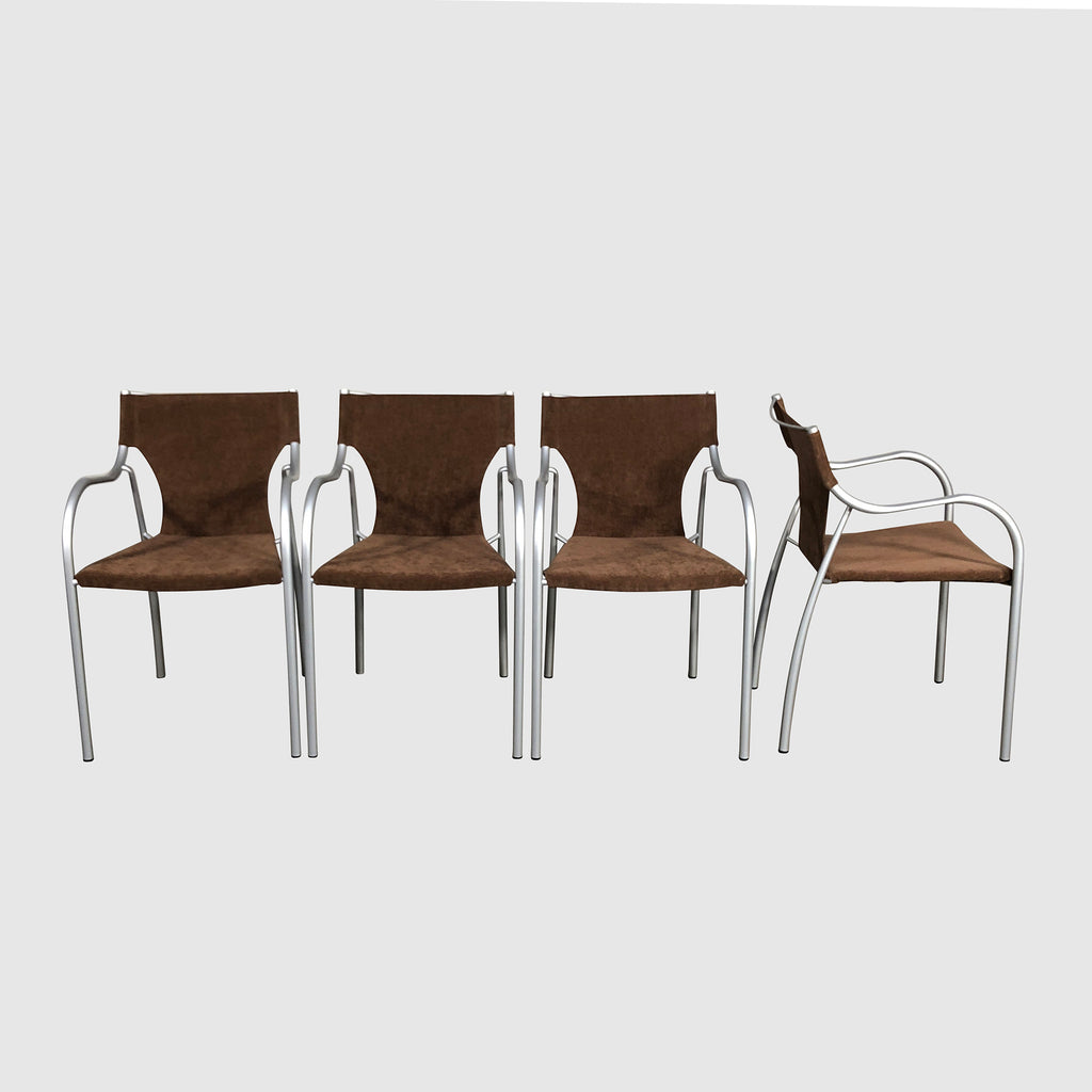 Admirable Bontempi Casa Brown Ultra Suede Dining Chair With Armrest Gmtry Best Dining Table And Chair Ideas Images Gmtryco