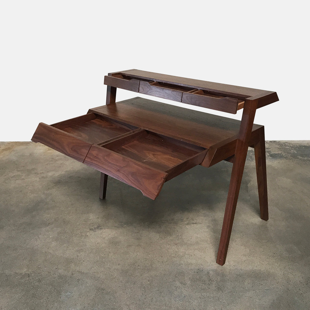 FOLKS Walnut Two-Tier Wooden Writing Desk | LA | Consignment