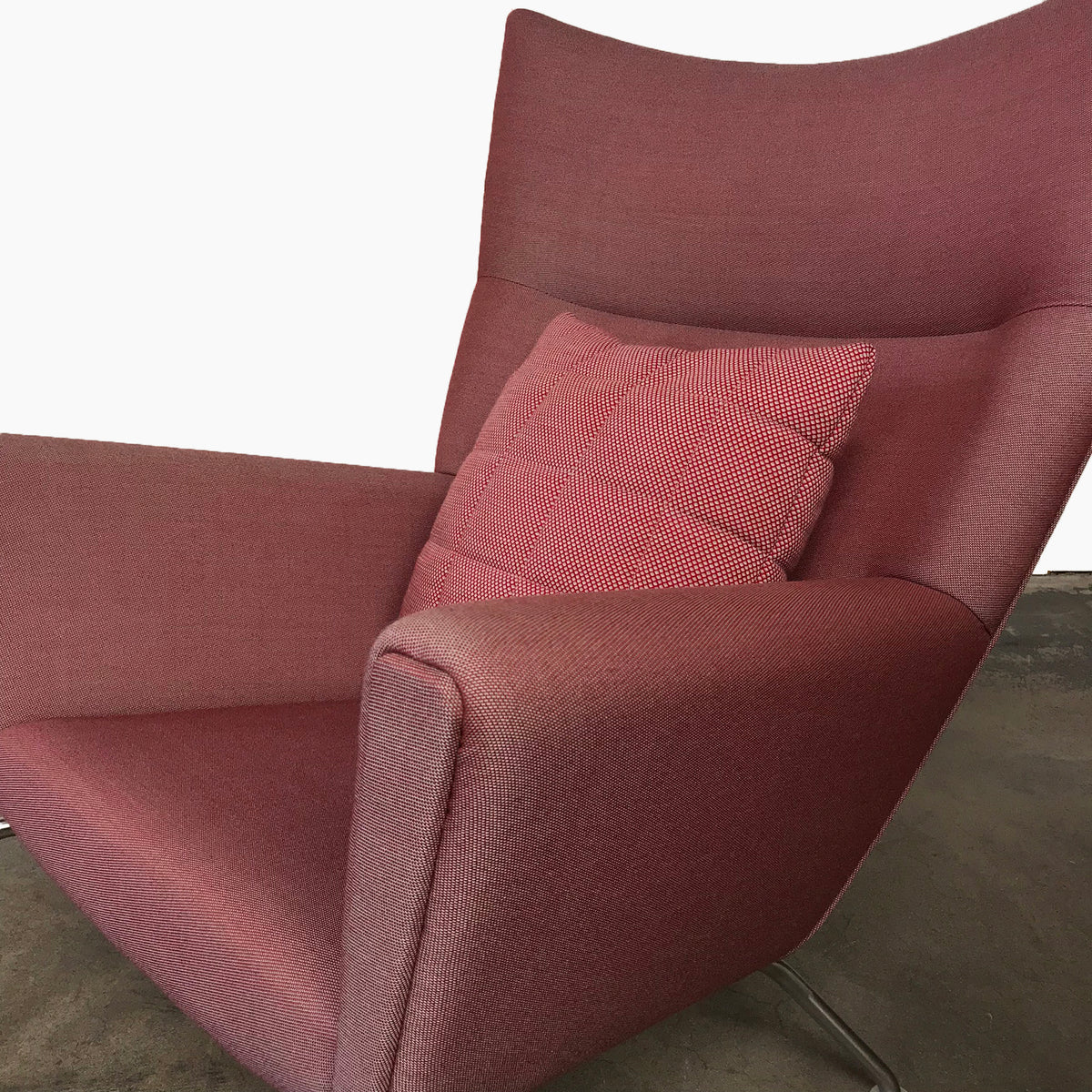 Carl Hansen Red Fabric CH445 Wing Lounge Chair by Hans J Wegner