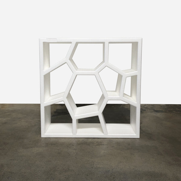 Casamania white styrofoam Opus Incertum Bookcase by Sean Yoo