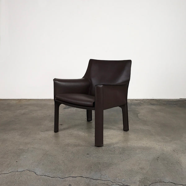 Cassina Brown Leather Cab 414 Lounge Chair by Mario Bellini