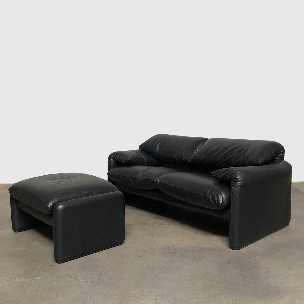 Cassina '675 Maralunga' Black Leather Two Seat Sofa