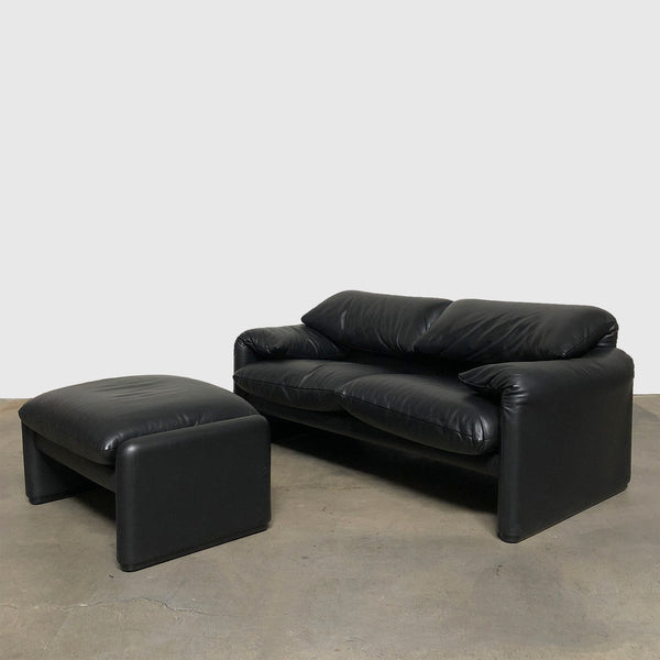 Cassina '675 Maralunga' Black Leather Two Seat Sofa & Ottoman