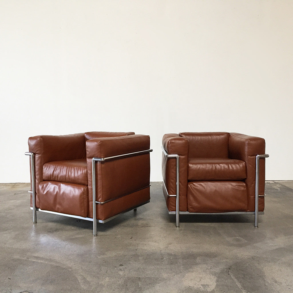 Le corbusier chair vintage - Lc2 Lounge Chairs 2