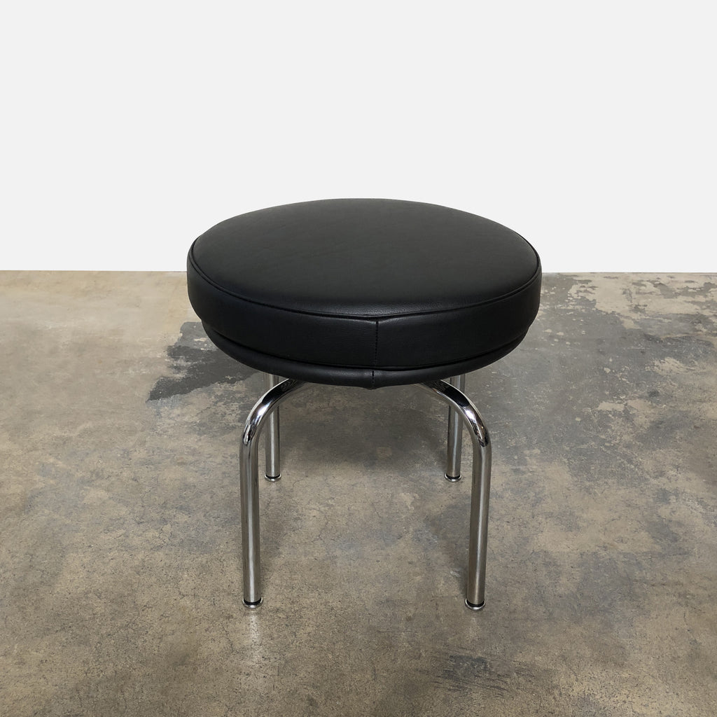 Cassina Black Leather LC8 Low Swivel Stool by Le Corbusier