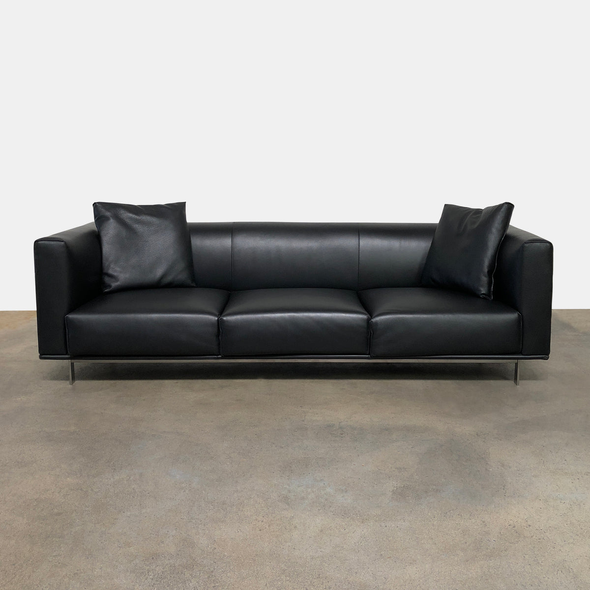 DWR Black Leather Bilsby Sofa by Matthew Hilton | LA | Consignment