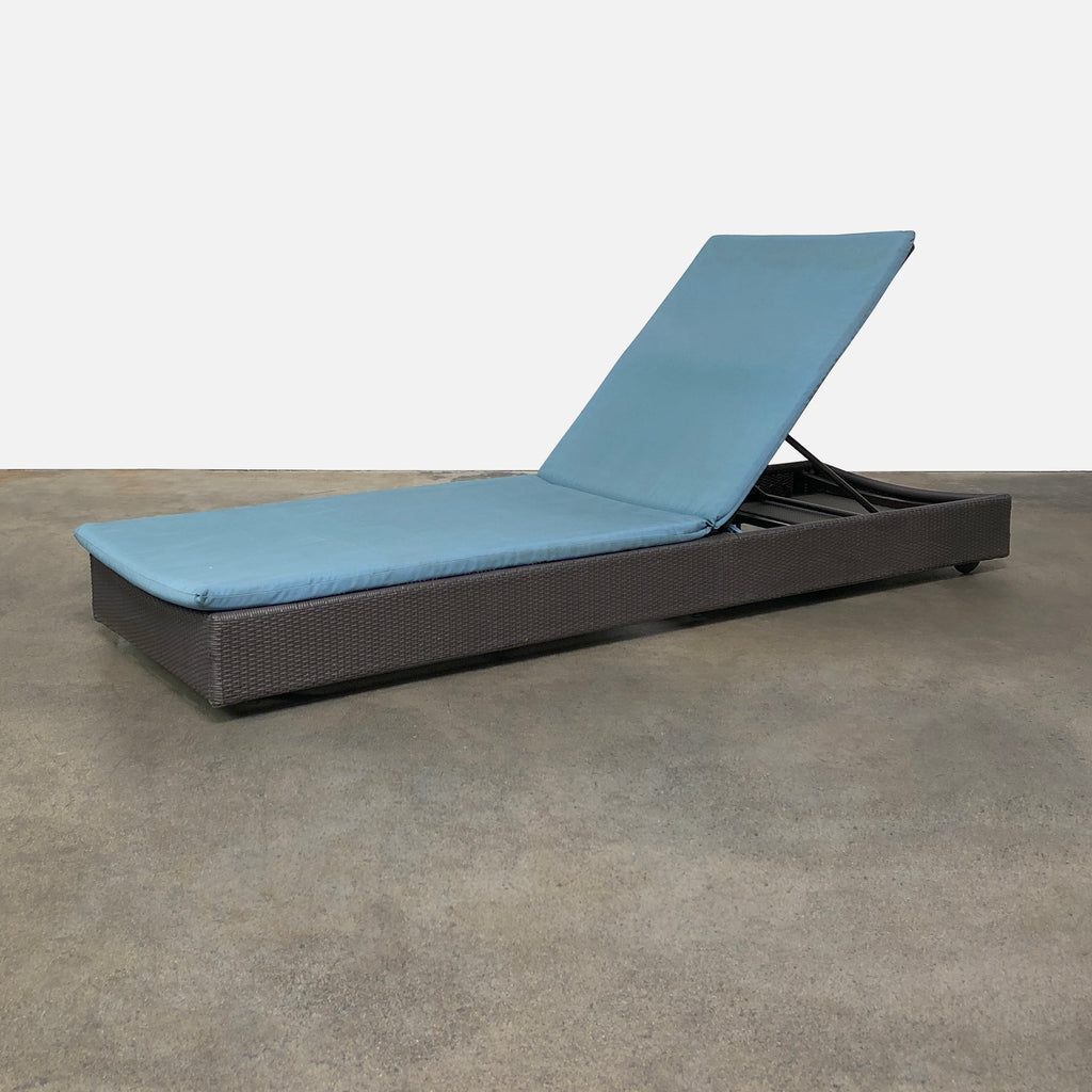 DWR Treviso Outdoor Chaise Lounge with Blue Fabric Cushion