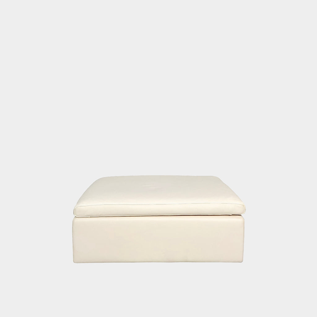 Ivory Leather Ottoman, Ottoman - Modern Resale