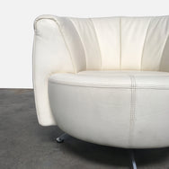 De Sede White Leather Swivel Armchair Rare