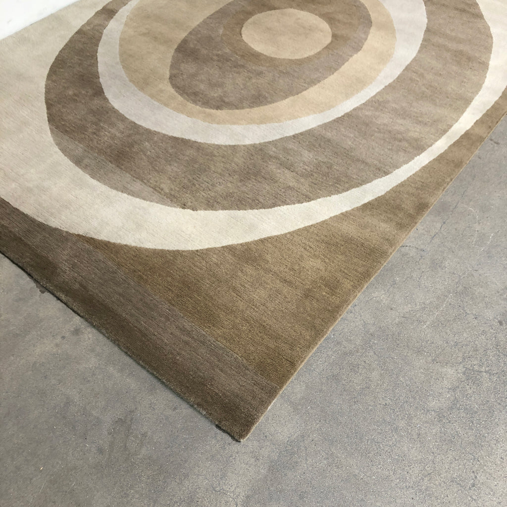 Delinear Tan and Off White 'Equinox' Rug by Chris Basa