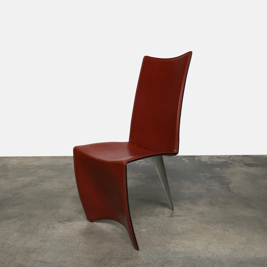 Driade ALeph Ed Archer Dining Chair by Philippe Starck Cognac Leather
