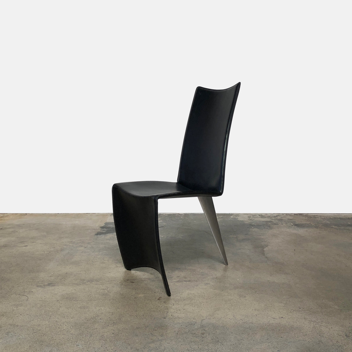 Driade Black Leather and Chrome Ed Archer Dining Chair