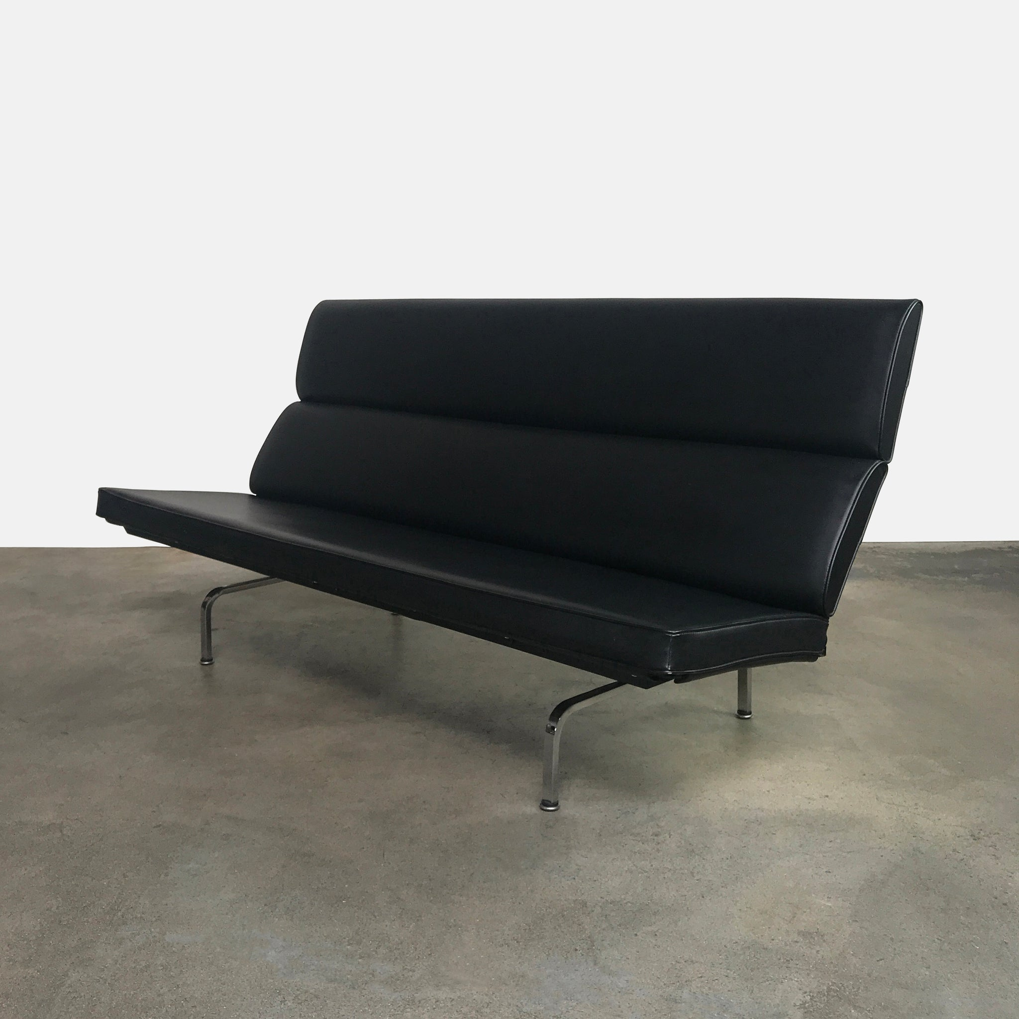 Herman Miller Black Leather Compact Sofa By Charles And