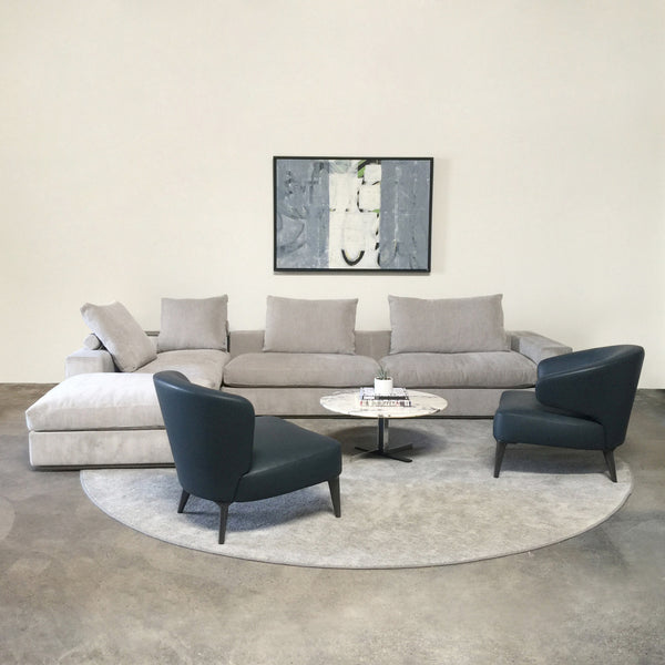 Flexform Gray fabric Groundpiece sectional by Antonio Citterio